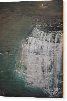 Burgess Falls Wood Print by Delnora Reed