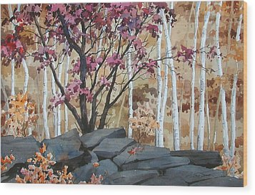 Burgundy On The Rocks Wood Print by Faye Ziegler
