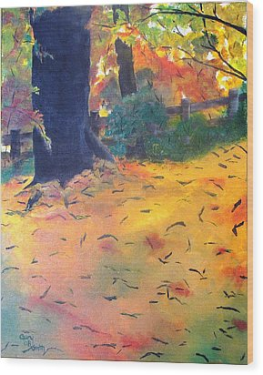 Wood Print featuring the painting Buried In Autumn Leaves by Gary Smith