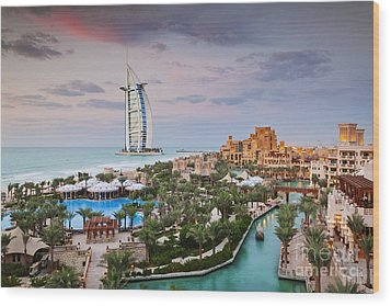 Burj Al Arab Hotel And Madinat Jumeirah Resort Wood Print by Jeremy Woodhouse