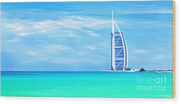 Burj Al Arab Hotel On Jumeirah Beach In Dubai Wood Print