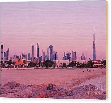 Burj Khalifa Previously Burj Dubai At Sunset Wood Print by Chris Smith