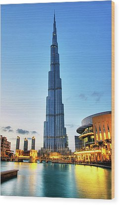 Burj Khalifa Sunset Wood Print by Shawn Everhart