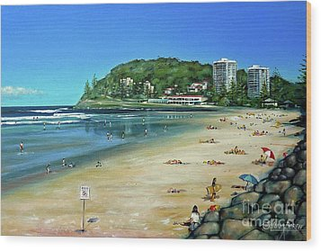 Wood Print featuring the painting Burleigh Beach 100910 by Selena Boron