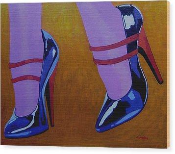 Burlesque Shoes Wood Print by John  Nolan