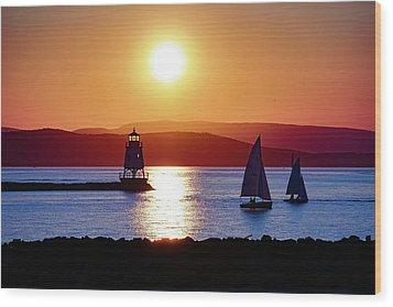 Burlington Breakwater Sunset Wood Print