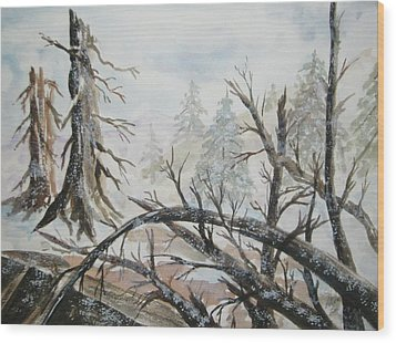 Wood Print featuring the painting Burned Forest In The Snow by Ellen Levinson