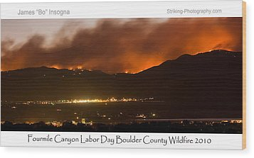 Burning Foothills Above Boulder Fourmile Wildfire Panorama Poster Wood Print by James BO  Insogna