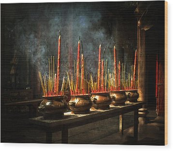 Wood Print featuring the photograph Burning Incense by Lucinda Walter