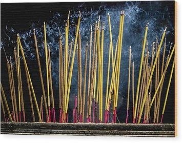 Burning Joss Sticks Wood Print