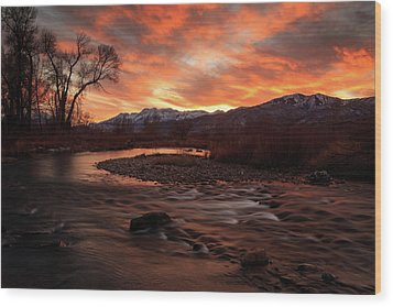 Wood Print featuring the photograph Burning Sunset Above The Provo River. by Johnny Adolphson