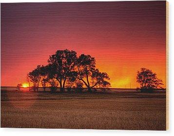 Burning Sunset Wood Print by Thomas Zimmerman
