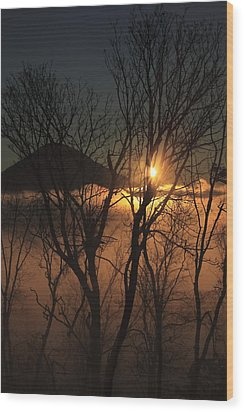 Burning Through The Fog Wood Print by Naman Imagery