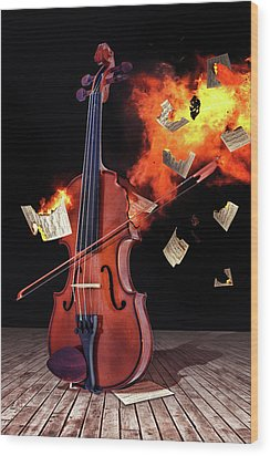 Burning With Music Wood Print
