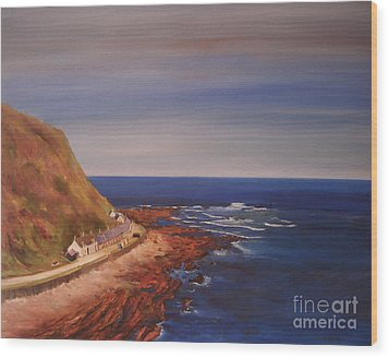 Wood Print featuring the painting Burnmouth Scotland by Beatrice Cloake