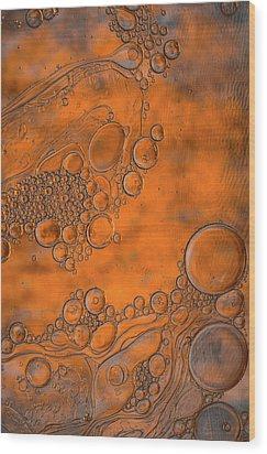 Burnt Bubble Fire Plate Wood Print