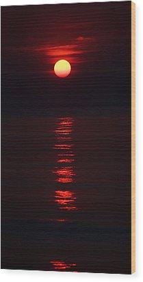 Burnt Orange Sunrise Wood Print