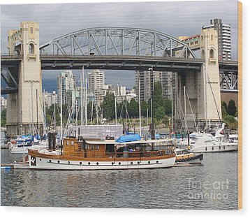 Wood Print featuring the painting Burrard Street Bridge, Vancouver by Rod Jellison