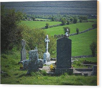 Burren Crosses County Clare Ireland Wood Print by Teresa Mucha