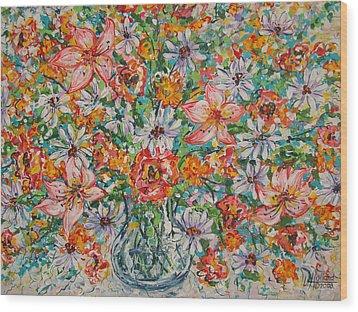 Burst Of Flowers Wood Print