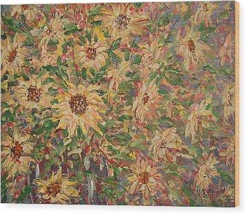 Burst Of Sunflowers. Wood Print