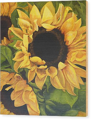 Wood Print featuring the painting Burst Of Sunflowers by Sandra Nardone
