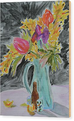 Wood Print featuring the painting Bursting Bouquet by Beverley Harper Tinsley