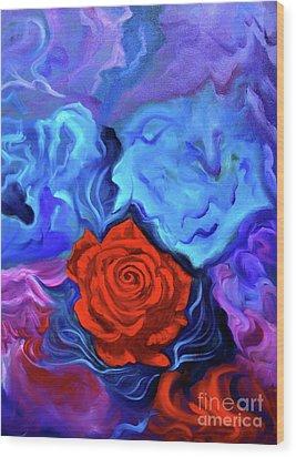 Bursting Rose Wood Print by Jenny Lee