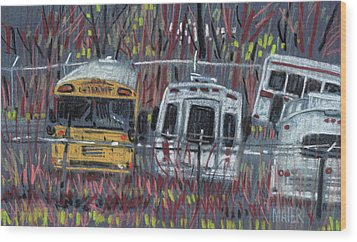 Bus Yard Wood Print by Donald Maier
