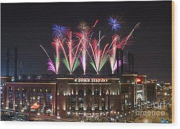 Busch Stadium Wood Print