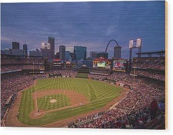 Busch Stadium St. Louis Cardinals Ball Park Village Twilight #3c Wood Print by David Haskett