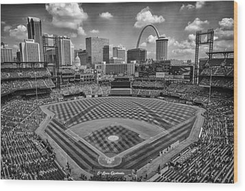 Busch Stadium St. Louis Cardinals Black White Ballpark Village Wood Print by David Haskett