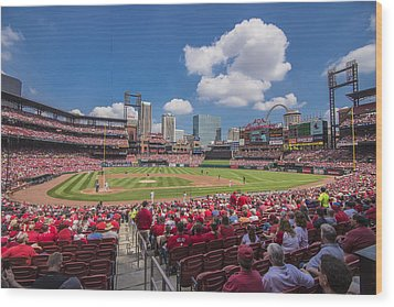 Busch Stadium St. Louis Cardinals Cardinal Nation Ballpark Village Day #2a Wood Print by David Haskett