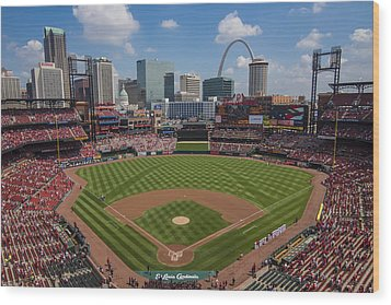 Busch Stadium T. Louis Cardinals Ball Park Village National Anthem #3a Wood Print by David Haskett