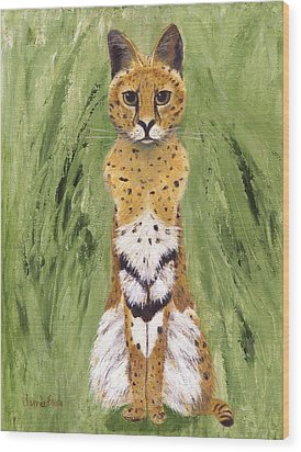 Wood Print featuring the painting Bush Cat by Jamie Frier