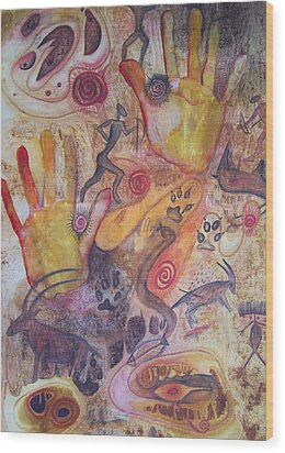 Bushman Comes Alive Wood Print by Vijay Sharon Govender