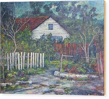 Bushy Old House Wood Print by Lily Hymen