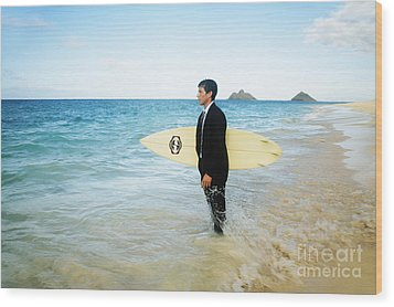 Business Man At The Beach With Surfboard Wood Print by Brandon Tabiolo - Printscapes