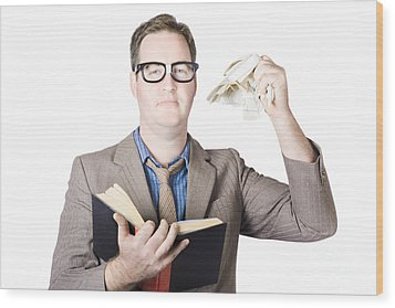 Businessman Tearing Pages From Book Wood Print by Jorgo Photography - Wall Art Gallery