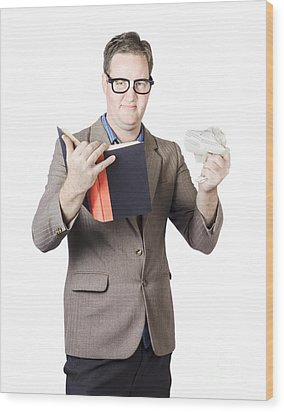 Businessman With Book And Crumpled Paper Wood Print by Jorgo Photography - Wall Art Gallery