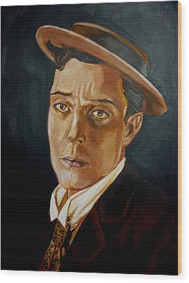 Buster Keaton Tribute Wood Print by Bryan Bustard