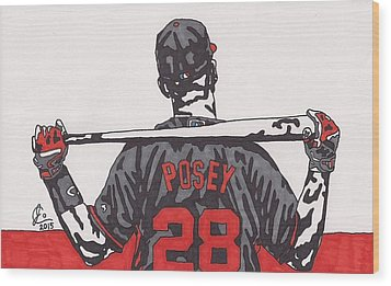 Buster Posey Wood Print by Jeremiah Colley