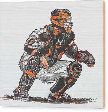 Buster Posey Wood Print by Terry Banderas