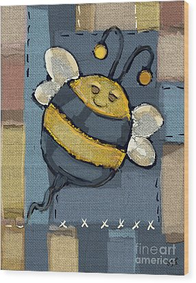 Wood Print featuring the mixed media Busy Bee by Carrie Joy Byrnes