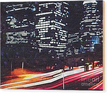 Busy City At Night Wood Print by Deborah MacQuarrie-Selib