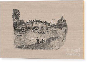 Busy Richmond Bridge And Fishermen Wood Print by Donna Munro