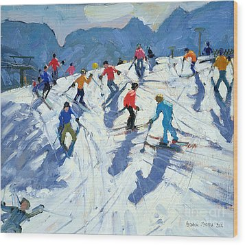 Busy Ski Slope Wood Print by Andrew Macara