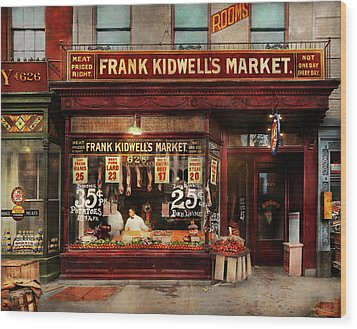 Butcher - Meat Priced Right 1916 Wood Print by Mike Savad