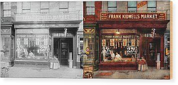 Butcher - Meat Priced Right 1916 - Side By Side Wood Print by Mike Savad