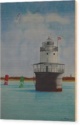 Butler Flats Lighthouse Wood Print by Ron Sylvia